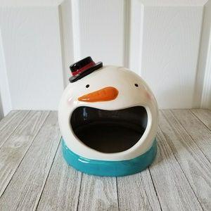Magenta Christmas Snowman Candy Dish